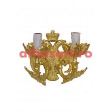 Aplica aluminiu aurit (2 becuri) (23x23 cm) cod K656