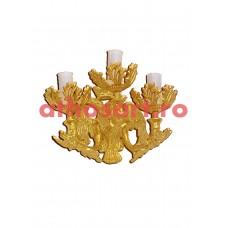 Aplica aluminiu aurit (3 becuri) (26x25 cm) cod K658