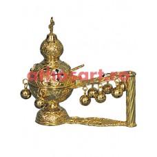 Cadelnita aurita cu medalion email (22x23 cm) (1.2 kg)  53-356