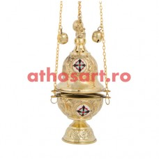 Cadelnita aurita cu medalion email (24 cm) cod P65-377B