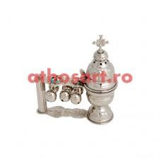 Cadelnita argintata cu medalion email (19x16 cm) cod P66-401N