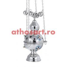 Cadelnita argintata cu medalion email (23 cm) cod P66-9781N