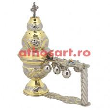 Cadelnita aurita si argintata cu medalion email (25x20 cm) cod P66-9841GN