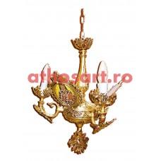 Candelabru aluminiu aurit cu patina (3 becuri) (45x55 cm) cod K226-03