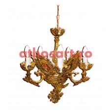 Candelabru aluminiu aurit cu patina (5 becuri) (45x55 cm) cod K226-07