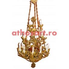 Candelabru aluminiu aurit cu patina (22 becuri) (65x100 cm) cod K230-01