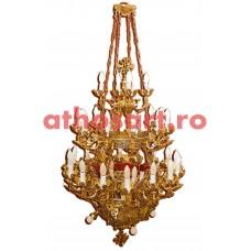 Candelabru aluminiu aurit cu patina (40 becuri) (75x115 cm) cod K232-02