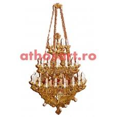 Candelabru aluminiu aurit cu patina (50 becuri) (90x135 cm) cod K232-12