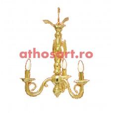 Candelabru alama aurit (3 becuri) (58x60 cm) cod K269-00