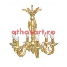 Candelabru alama aurit (6 becuri) (58x60 cm) cod K269-01