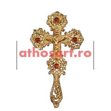 Cruce Binecuvantare aurita cu pietre rosii (14x25 cm) cod S1001-02BS