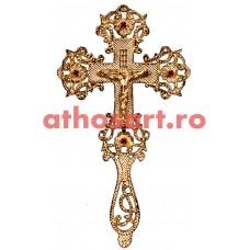 Cruce Binecuvantare aurita cu pietre rosii (14x25 cm) cod S1001-02