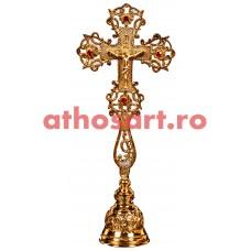 Cruce Binecuvantare aurita cu pietre rosii si suport (14x31 cm) cod S1001-04