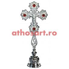 Cruce Binecuvantare argintata cu pietre rosii si suport (14x31 cm) cod S1002-05SS